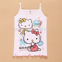 In stock New 2016 Girls Tanks Children Vest Beach Clothing Baby Girl Summer Wear Tops Cotton Sleeveless Cool btst0003(China (Mainland))