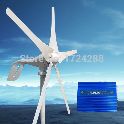 wind generator 600W max,5 blade,12V/24V,wind power turbine+1000W max Wind solar hybrid Controller with RoHS CE Certification(China (Mainland))