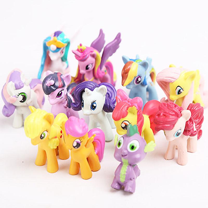 12pc/Set Christmas Kids Gift PVC Model Cute Cartoon Pets Horse Unicorn Poni Luna Action Figures Dolls Girls Cartoon Toy RT089(China (Mainland))
