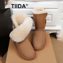 TIIDA New Fashion Women Snow Boots Genuine Sheepskin Leather Snow Boots 100% Natural Fur Winter Boots Warm Wool Women Boots(China (Mainland))