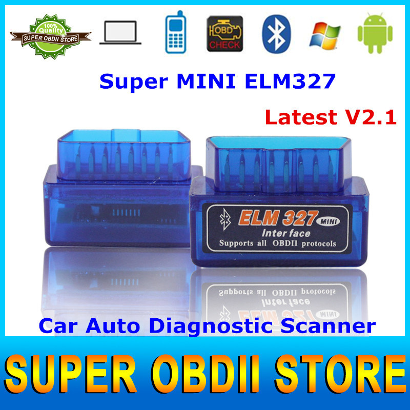 Professional Newest Newest V2.1 OBD2 Bluetooth ELM327 Diagnostic Tool ELM 327 Code Scanner With OBDII Interface Free Post(China (Mainland))