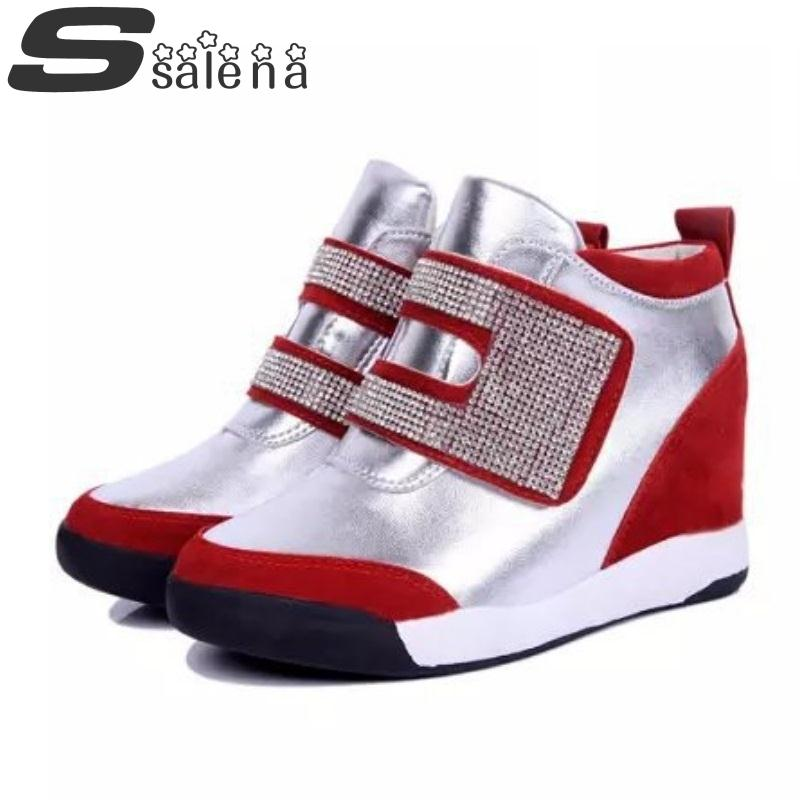 2014 Autumn and Winter Increased within women's sneakers high-top Velcro single shoes fashion female sports shoes B1015