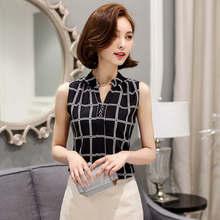 Soperwillton New Summer Chiffon Blouse Women Printed Sleeveless Blouse White Striped Blouses Shirts Female Office Shirt #A806(China (Mainland))