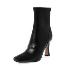 ISNOM Streç Yüksek Topuklu Çizmeler Kadın Yılan Derisi Ayak Bileği Patik Kare Ayak Çorap Ayakkabı Kadın Deri parti ayakkabıları Bayanlar Kış(China)