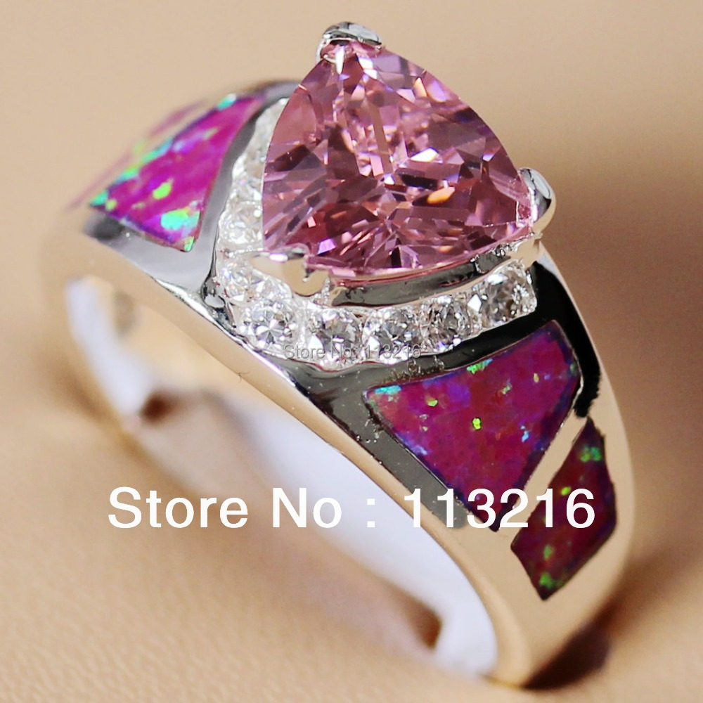 Romantic Wholesale Pink Cubic Zirconia and Pink opal Fashion Jewelry Recommend Silver Plated Promotion RING R341 sz# 6 7 8 9 10(China (Mainland))