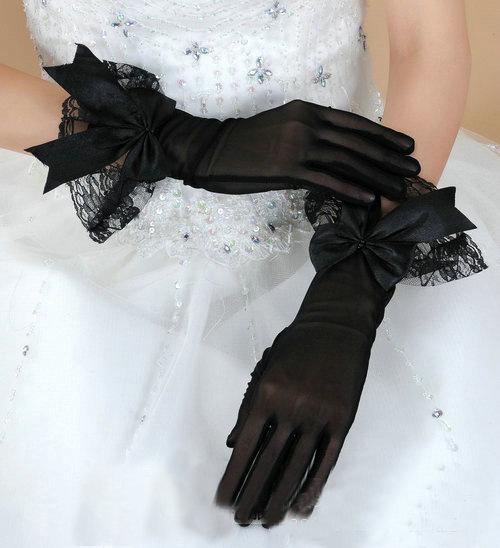 hot sale short wedding lace gloves black finger women elastic mesh bridal accessories wholesale(China (Mainland))