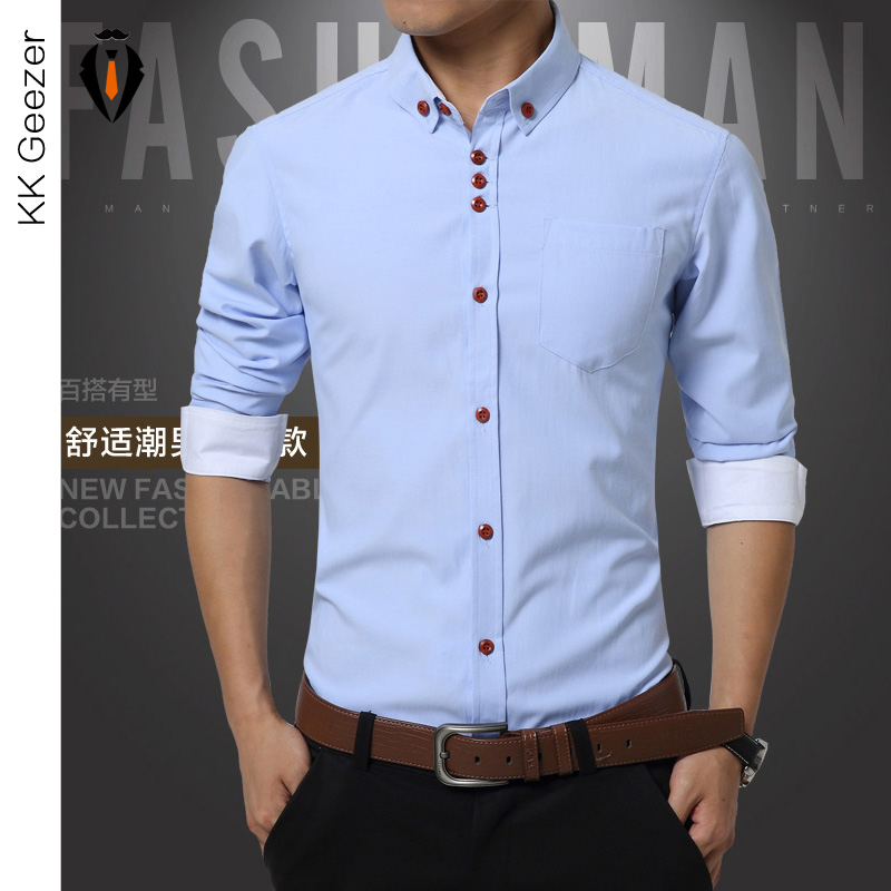 Shirts Men Long Sleeve Casual Cotton Dress Shirts Work Wear Plus Size Famous Brand New Fashion 2016 Summer Bussiness Slim Fit(China (Mainland))