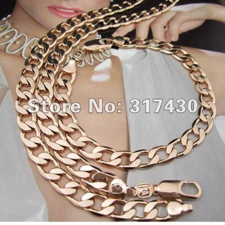 """wholesale retail 18k Rose gold filled mens womens necklace bracelet set Solid Curb Link chain jewelry set 24"""" 6mm"""