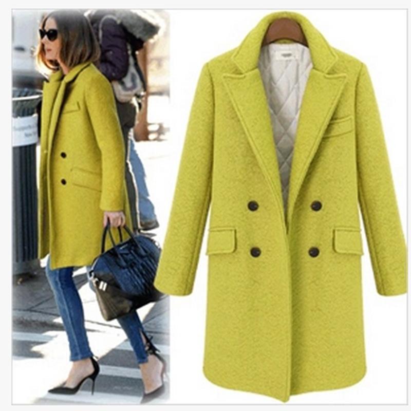 Осень и зима в европе и америке звезда моделей широкий костюм лацкане толстой шерстяной пальто стеганые двубортный шерстяное пальто куртки