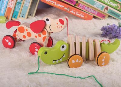 Baby wooden toys pull dog crocodile brinquedos early educational kids toys(China (Mainland))