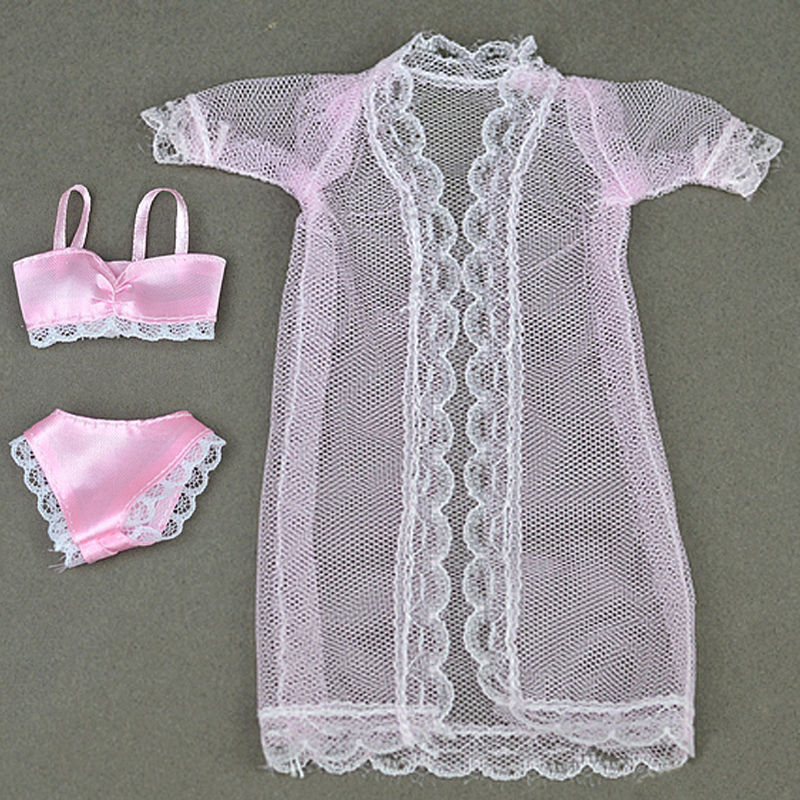 1SET Attractive Pajamas Lingerie Lace Lengthy Coat + Bra + Underwear Garments For Barbie Doll Garments Robe Underwear Lace Attire
