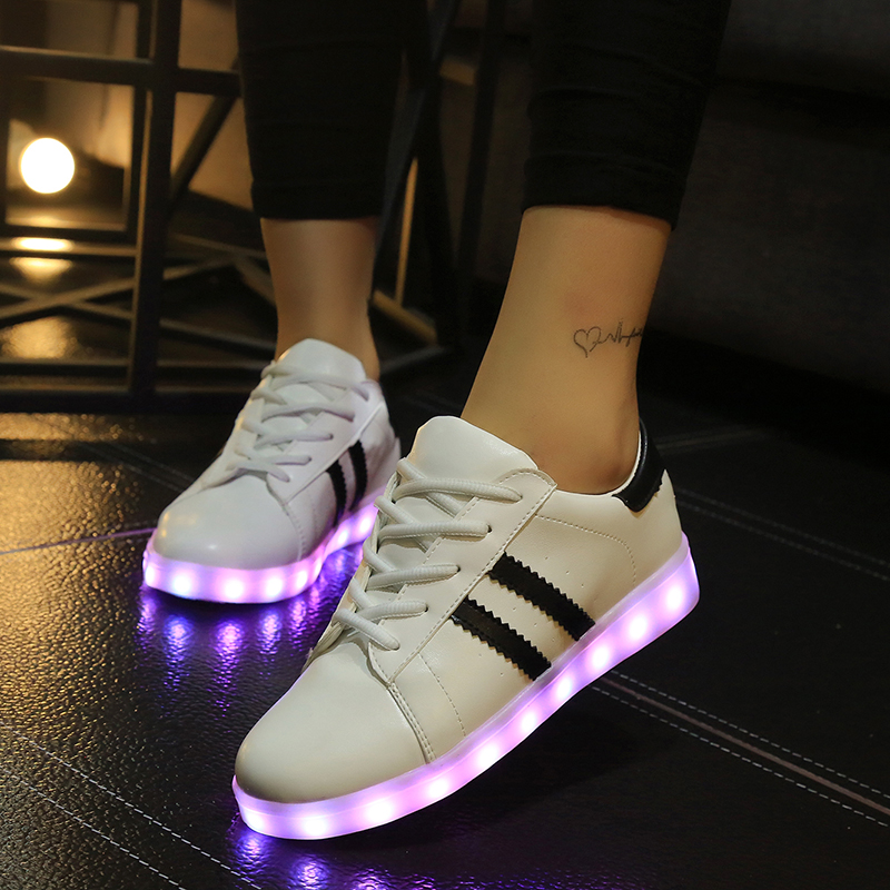Amazing Womens LED Light Up Yeezys Shoes Black Metallic Silver With USB