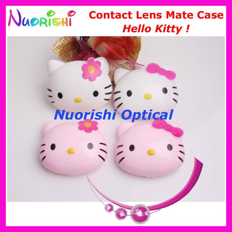 10pcs Hello Kitty design Contact Lens Case with Mirror C529 contact lens mate box Free Shipping(China (Mainland))