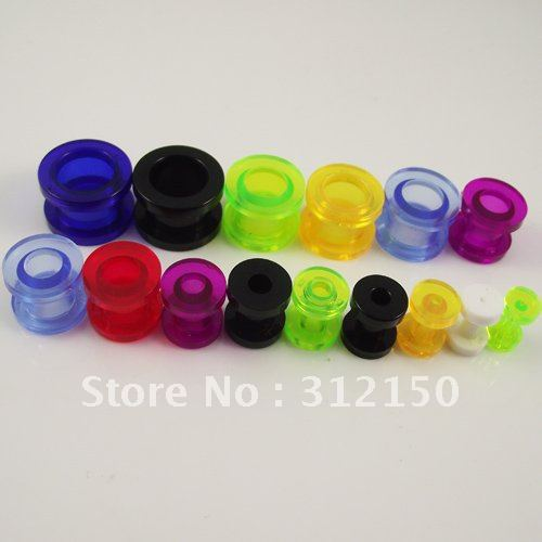 160pcs Free Shipping transparent Colorful Ear Expander Stretchers Ear Plugs UV Piercing Jewelry MIXED 8 sizes Flesh Tunnel(China (Mainland))