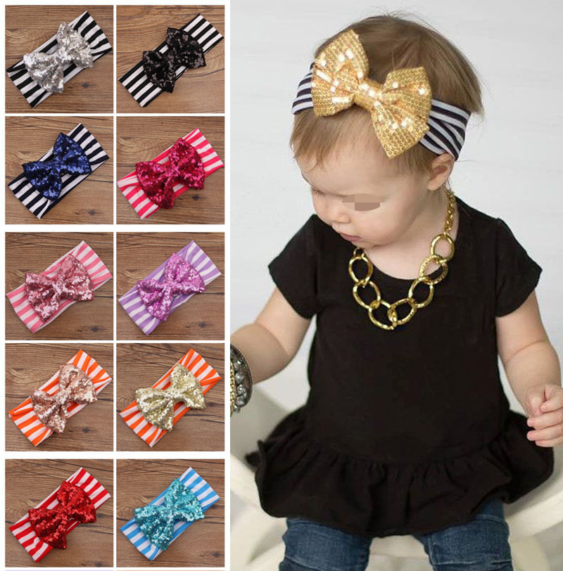 Top Baby Kids Girls Stripe Big Sequined Bow Headband Hair Band Toddler Head Wrap(China (Mainland))