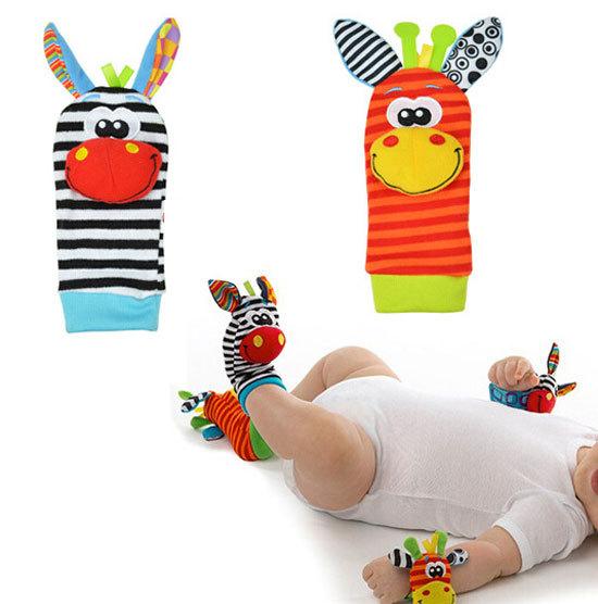 Beauty Girls cute baby babies lovely foot socks rattles finders animal glove toys developmental(China (Mainland))