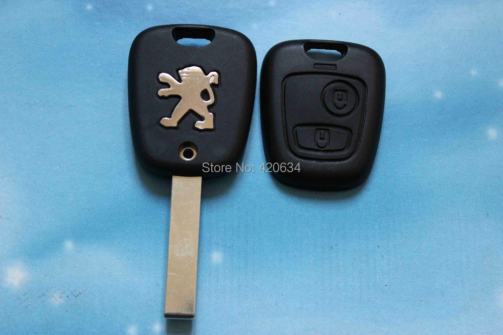 High Quality 2 Buttons Remote Key Shell for Peugeot 307 Car Keys Blank Key Cover Case with Groove Free Shipping(China (Mainland))