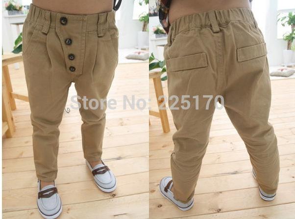 Дети детская одежда ребенка мальчики ретро хаки свободного покроя штаны прямые брюки для 2-7Y