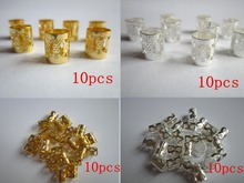 Free shippping 40Pcs/Lot  2 Design mix Silver Golden Plated  dread dreadlock beads adjustable cuff clip+ 4pcs gift beads(China (Mainland))