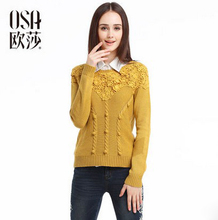 OSA 2014 Autumn Women's New Arrival Vintage Formal Pullover O-neck Twisted Flowers Long-sleeve  Casual Sweater SH406001(China (Mainland))