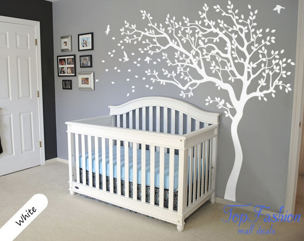 Huge white tree wall decal nursery tree and birds wall art for Baby nursery tree mural