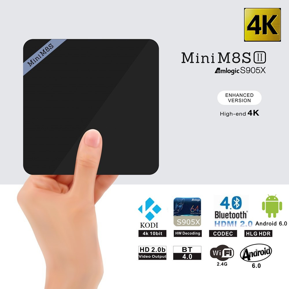 Mini M8S II Smart TV Box Set-top Box 4K Amlogic S905X Quad Core Android 6.0 2.4GHz WiFi Bluetooth 4.0 2GB 8GB 64Bit Media Player(China (Mainland))