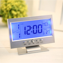 2016 Top Quality Voice Control Back-light LCD Alarm Desk Clock Weather Monitor Calendar With Thermometer Brand New(China (Mainland))