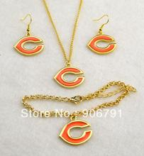 5set a lot   Chicago Bears gold Plated Necklace Earring Bracelet Set sport jewelry(China (Mainland))
