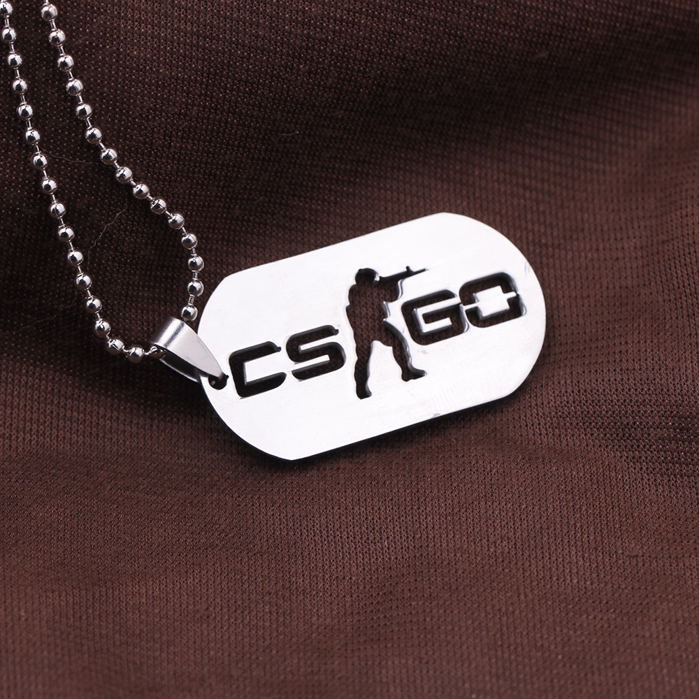 2016 New Stainless Steel Cs Go Necklace Counter Strike Dog Tag Pendant <font><b>Neckless</b></font> Collier Jewelry Game Theme Cs Go