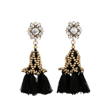 Fashion Female Retro Vintage Brincos New Arrival Gold Beaded Rope Tassel Earrings for Women(China (Mainland))