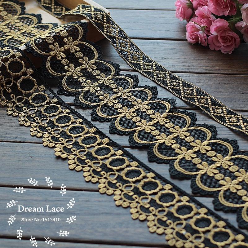 5Y/Lot Venise Lace Trim, Black golden Lace, golden Appliques, Alter Couture Supplies Vintage Style