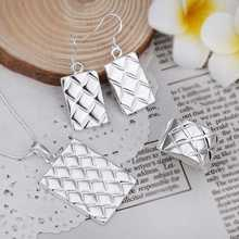 Wholesale Sterling 925 Silver Jewelry Set,925 Silver Fashion Jewelry,Fashion Charm Pendant Necklace+Earring+Ring Set S454(China (Mainland))