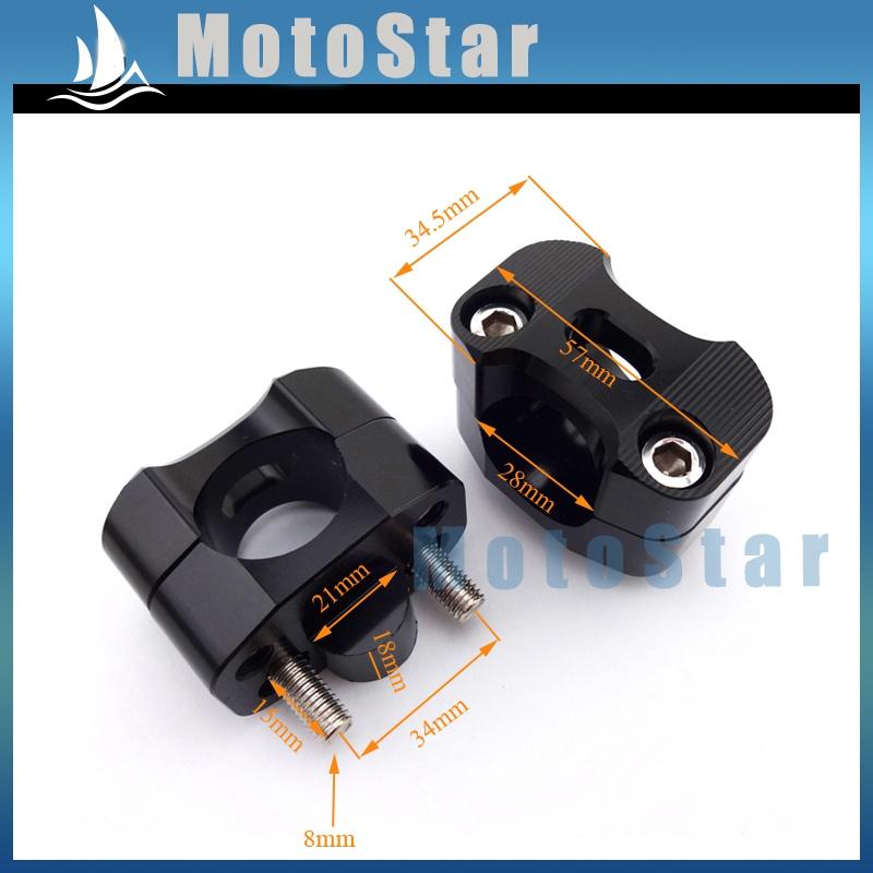 CNC Black Handle Bar Clamp Adapter Risers Taper For Fat 1 1/8'' 28mm Handlebar Pit Dirt Bike ATV Quad Motocross Motorcycle(China (Mainland))