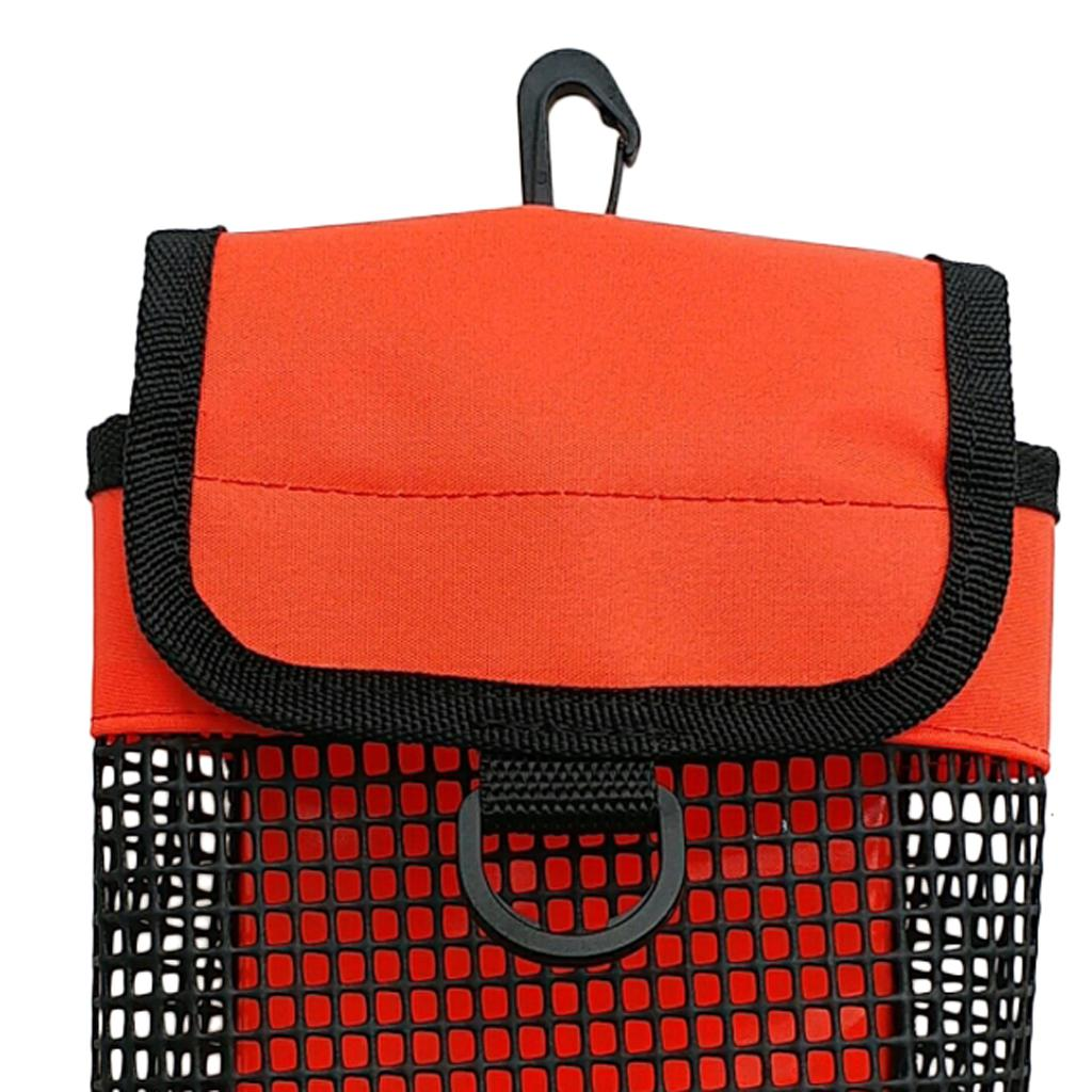 Ultralight Compact Mesh Gear Bag Pouch & Clip for Scuba Diving Reel & SMB Equipment Heavy Duty Mesh Pouch Container with D Ring