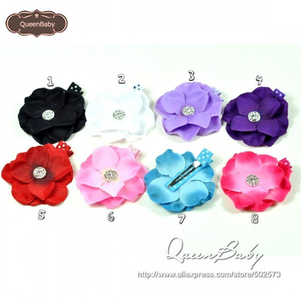 Hydrangea Flower Hair Clips  Rhinestone Center Photography Prop 40pcs/lot QueenBaby<br><br>Aliexpress