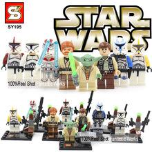 Star Wars Blocks Minifigures SY195 Star wars Minifigure Building Blocks With Star Wars Lightsaber Qui-Gon Jinn Darth Vader Yoda(China (Mainland))