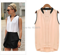 Women Casual Chiffon Blouse Blusas Femininas 2015 Plus Size Solid Color Sleeveless Shirt Blusa Roupas Feminino Camisa Preto Rosa(China (Mainland))