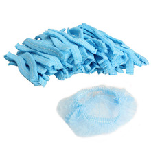 BEST Hot Sale 100PCS Disposable Hair Shower Cap Non Woven Pleated Anti Dust Hat Hotel Salon suppliesSet Blue Free Shipping(China (Mainland))