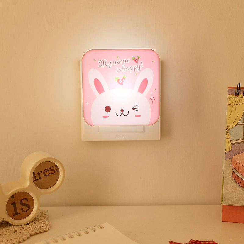 Free shipping corner creative LED light control sensor night light LED energy-saving bedside lamps cartoon Wall lamps(China (Mainland))