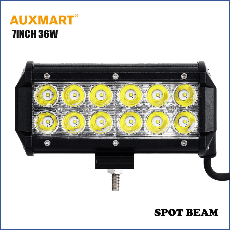 """Auxmart CREE Chips 7"""" 36W led work light bar spot beam for offroad camper trailer wagon 4X4 4WD SUV ATV 12v 24v Car motorcycles(China (Mainland))"""