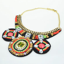 2016 Trendy jewelry Handmade Embroidery multicolor Bead collares mujer Ethnic Vintage necklace Beadwork Statement Necklace(China (Mainland))