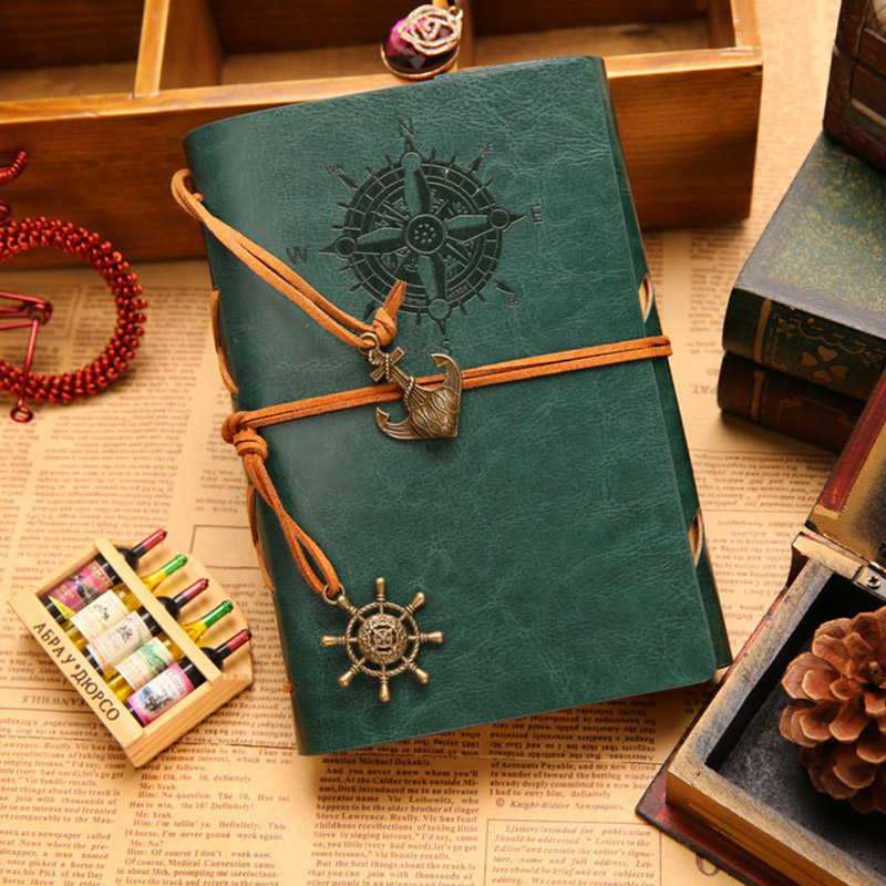 Hot Spiral Vintage notebook paper 90 sheets Leather Diary Sketchbook Kraft Office school supplies Notebooks and journals Gift(China (Mainland))