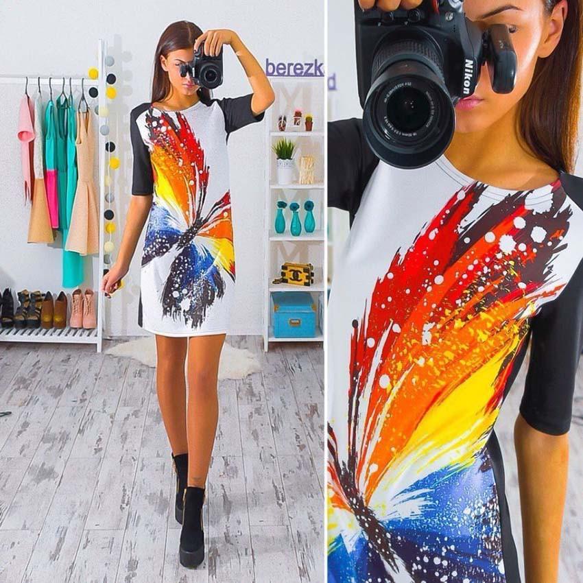 2017 spring summer women's casual slim ladies' mini dress printing butterfly sleeve