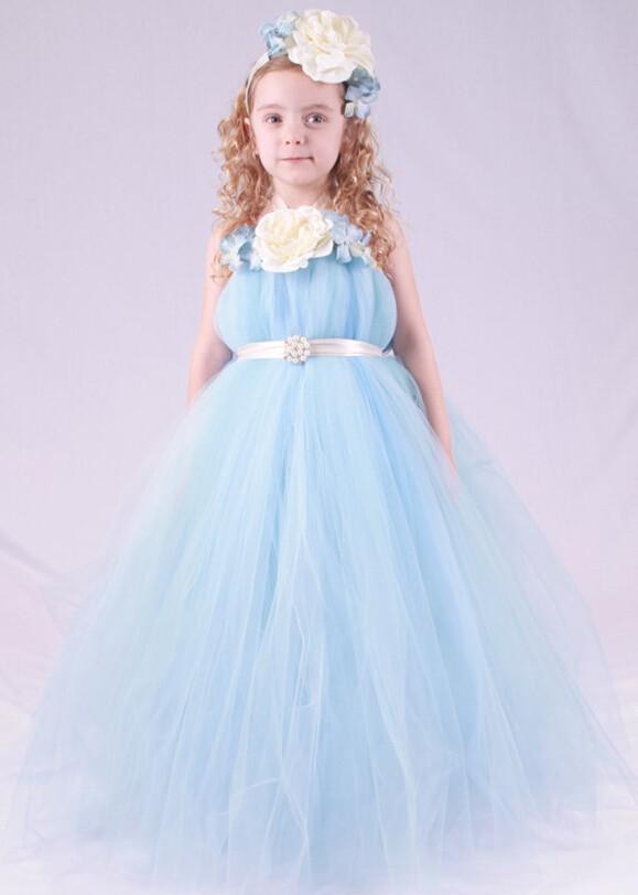 Скидки на Мода небесно-голубой Бальное платье Тюль маленькая девочка платья с цветочными детей девушка вечернее платье ПАЧКА платье [головной убор не входит]