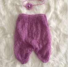 Newborn mohair pants and headdress flower photo prop  baby photography props