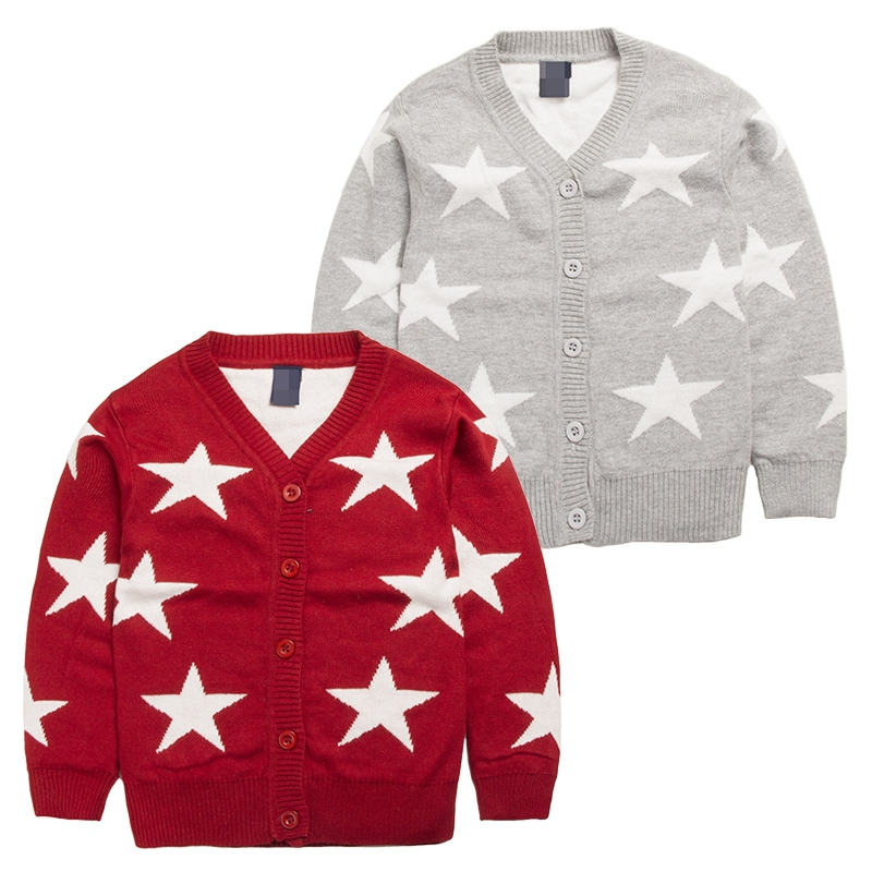 clothing for baby girl knitted sweater spring,autumn Baby boys clothing wear Sweaters printed star winter cardigan 4Size for2-5T(China (Mainland))