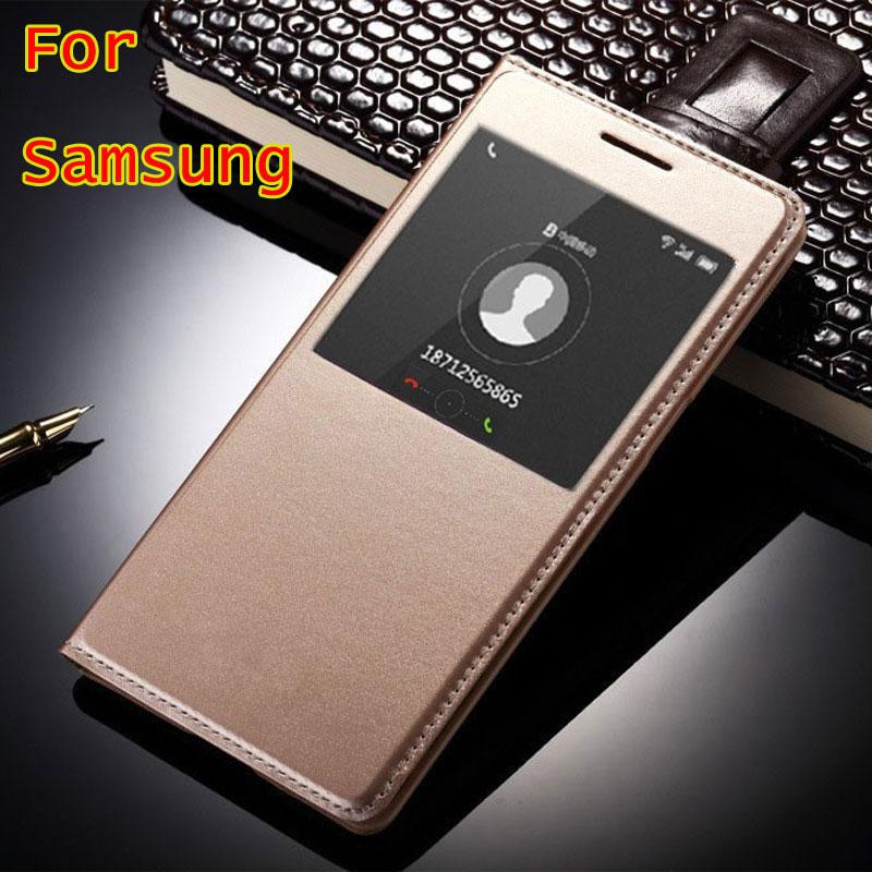 Smart Window View Flip Cover Case For <font><b>Samsung</b></font> <font><b>Galaxy</b></font> A5 <font><b>2016</b></font> A510 A310 S7 edge S6 S5 J5 <font><b>J7</b></font> A5 A7 Auto Sleep Wake Protector Bags