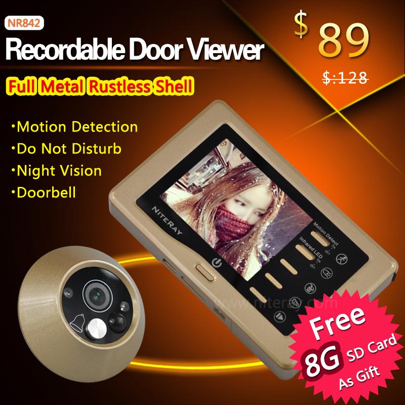 Video recording Door viewer Alloy metal camera digital door viewer with IR night vision