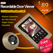 Video recording Door viewer Alloy metal camera digital door viewer with IR night vision