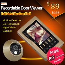 Grabación de vídeo espectador de la puerta de la aleación del metal de la cámara espectador de la puerta digital con IR de visión nocturna